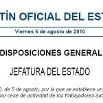 Ley 32/2010 de potección por cese de actividad a los trabajadores autónomos