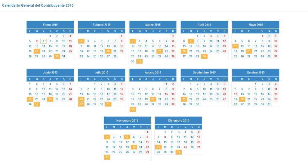 calendario fiscal 2015 - calendario del contribuyente