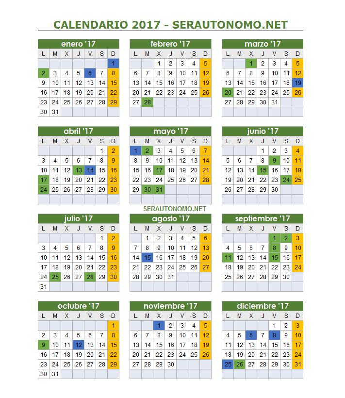 Calendario laboral 2017 | Días festivos por Comunidades | Ser ...