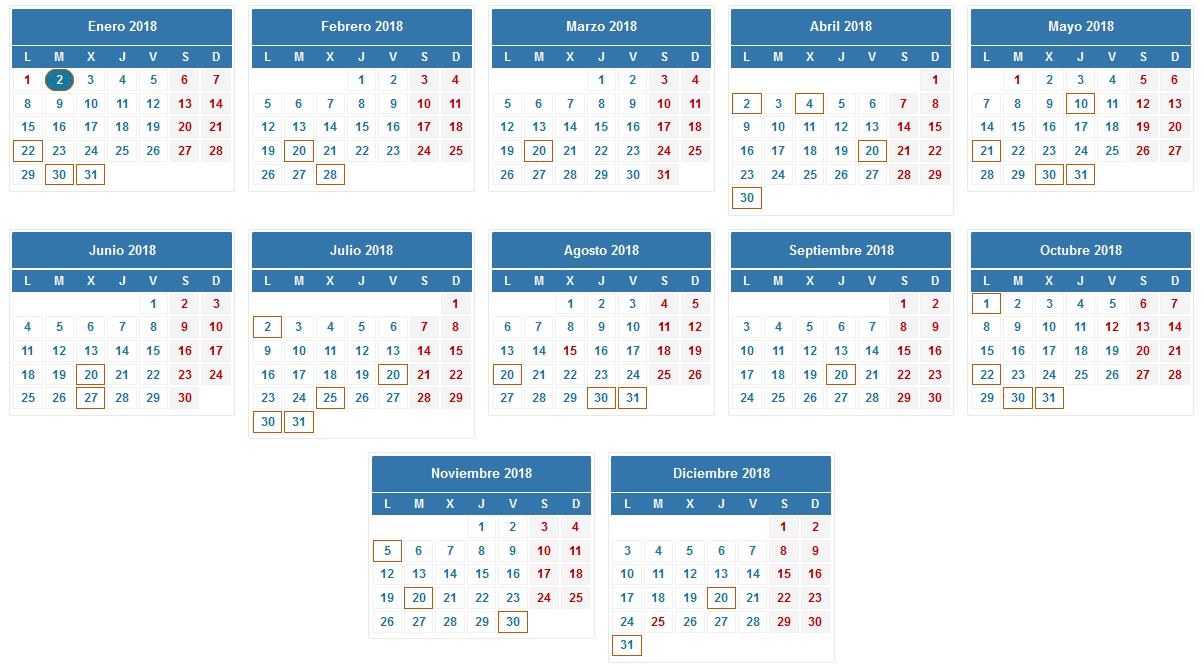 Calendario 2018 Tributario