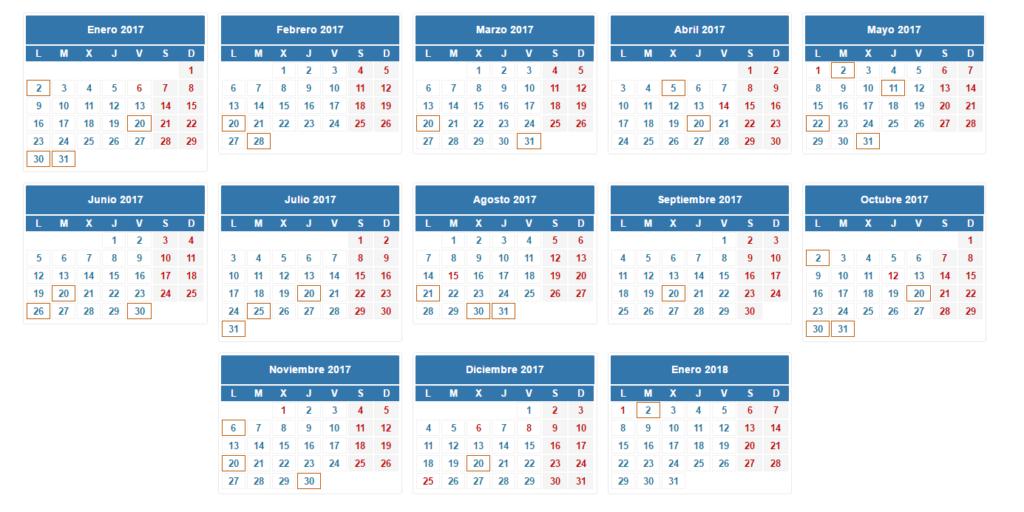 Calendario del contribuyente 2017
