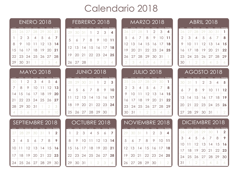 Calendario días festivos 2018