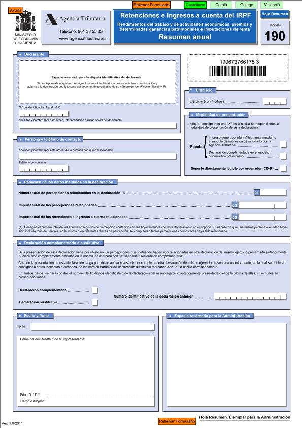 Modelo 190 resumen anual de retenciones e ingresos a for Hojas de nominas para rellenar